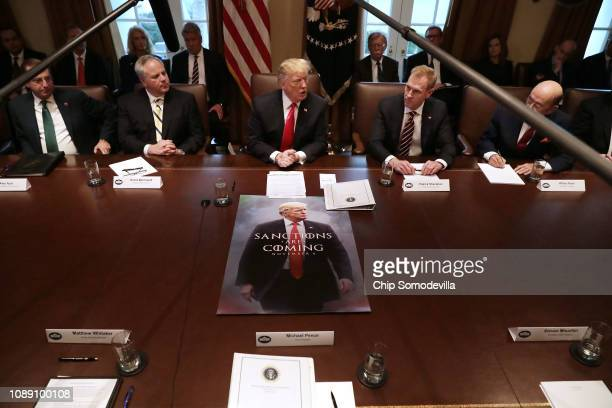 President Donald Trump leads a meeting of his Cabinet, including Health and Human Services Secretary Alex Azar, acting Interior Secretary David...