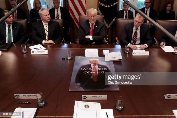 S President Donald Trump leads a meeting of his Cabinet including Health and Human Services Secretary Alex Azar acting Interior Secretary David...