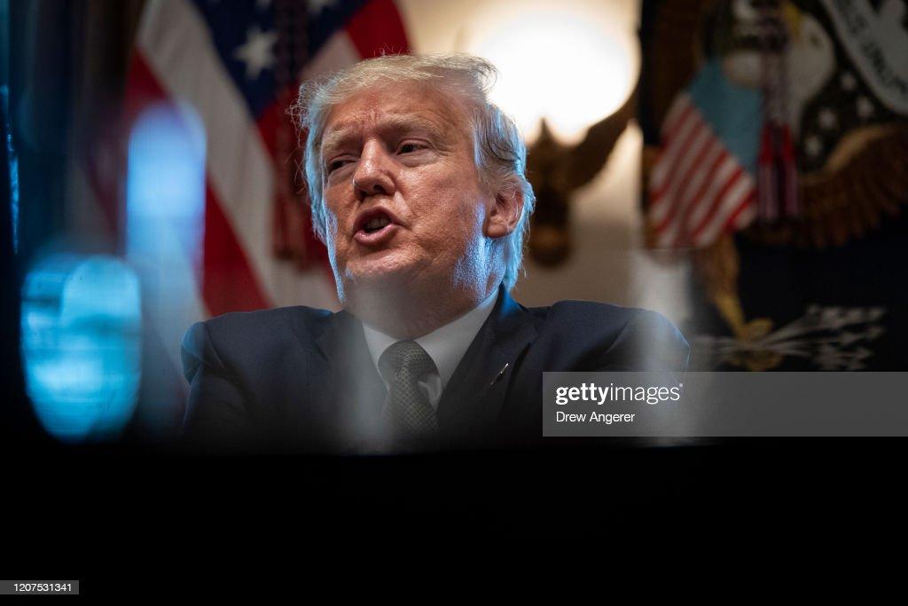 President Trump And Vice President Pence Meet With Tourism Executives To Discuss Response To Coronavirus Disruption : News Photo