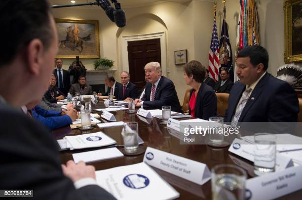 US President Donald Trump leads a tribal State and local energy roundtable in the Roosevelt Room along with EPA Administrator Scott Pruitt Iowa...