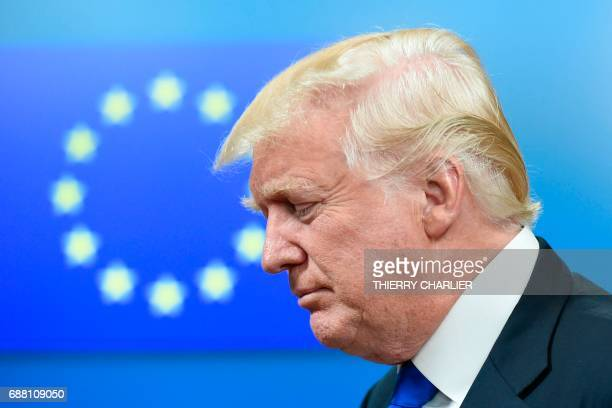 President Donald Trump leaves after a meeting with EU officials at EU headquarters on the sidelines of the NATO summit in Brussels on May 25 2017 /...
