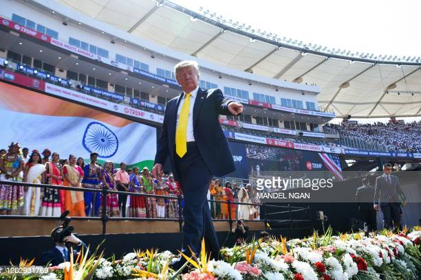US President Donald Trump leaves after attending 'Namaste Trump' rally at Sardar Patel Stadium in Motera on the outskirts of Ahmedabad on February 24...