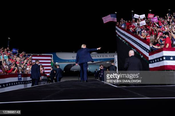 President Donald Trump leaves after speaking at a campaign rally at Cecil Airport on September 24 in Jacksonville, Florida.
