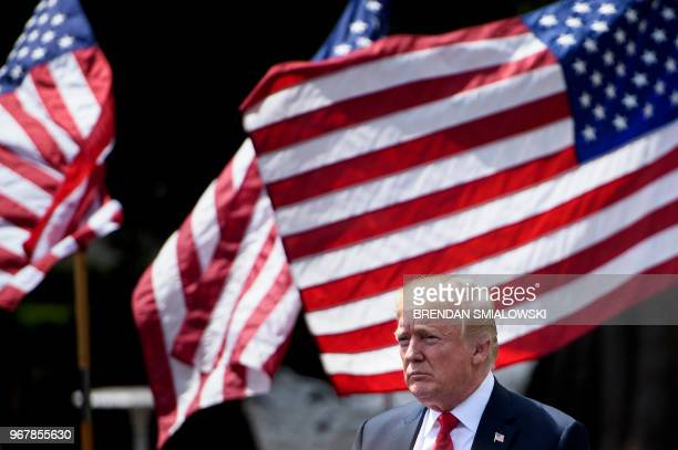 President Donald Trump leaves after the 'Celebration of America' at the White House in Washington DC on June 5 2018 Trump's 'The Celebration of...
