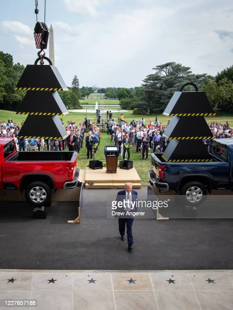 S President Donald Trump leaves an event about regulatory reform on the South Lawn of the White House on July 16 2020 in Washington DC On Wednesday...