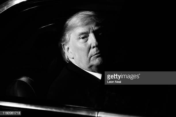 US President Donald Trump leaves number 10 Downing Street after a reception on December 3 2019 in London England France and the UK signed the Treaty...