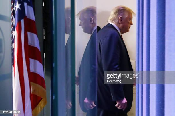 S President Donald Trump leaves the briefing room after he made a statement at the White House on May 22 2020 in Washington DC President Trump...