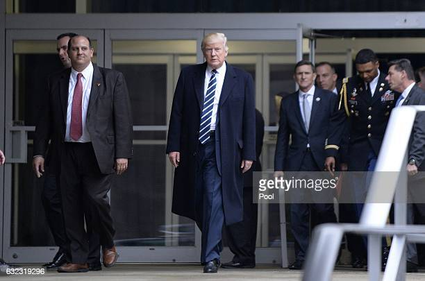 President Donald Trump leaves the CIA headquarters after speaking on January 21 2017 in Langley Virginia Trump spoke with about 300 people in his...