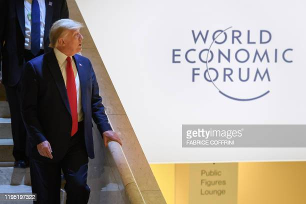 US president Donald Trump leaves the Congress center during the World Economic Forum annual meeting in Davos on January 21 2020