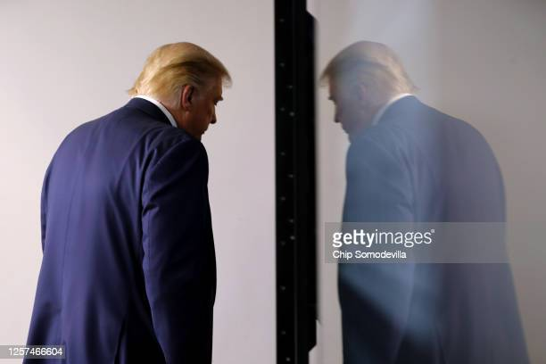 President Donald Trump leaves the podium at the conclusion of a press conference in the Brady Press Briefing Room at the White House July 21, 2020 in...