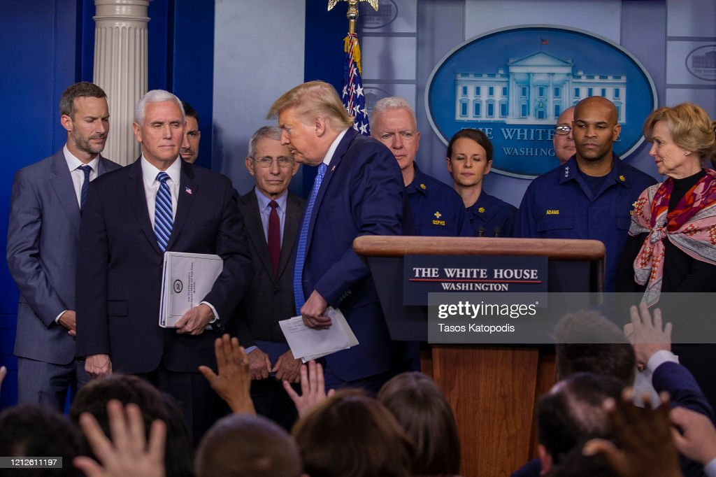 President Trump Joins Coronavirus Task Force Press Conference At White House : News Photo