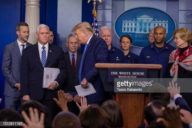 S President Donald Trump leaves the press briefing room at the White House on March 15 2020 in Washington DC The United States has surpassed 3000...