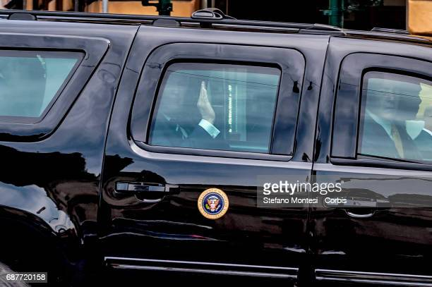 S President Donald Trump leaves the Quirinale Presidential Palace after a meeting with Italy's President Sergio Mattarella on May 24 2017 in Rome...