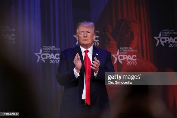 S President Donald Trump leaves the stage after addressing the Conservative Political Action Conference at the Gaylord National Resort and Convention...