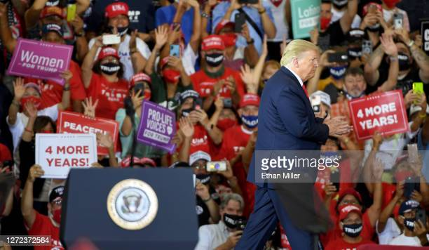 President Donald Trump leaves the stage after speaking at a campaign event at Xtreme Manufacturing on September 13, 2020 in Henderson, Nevada....