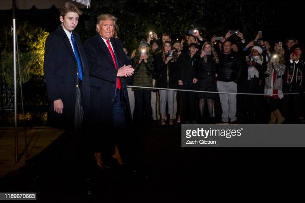 President Donald Trump leaves the White House before departing for Joint Base Andrews on December 20, 2019 in Washington, DC. President Trump will...