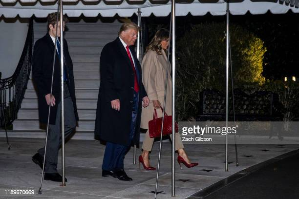 President Donald Trump leaves the White House before departing for Joint Base Andrews on December 20 2019 in Washington DC President Trump will sign...