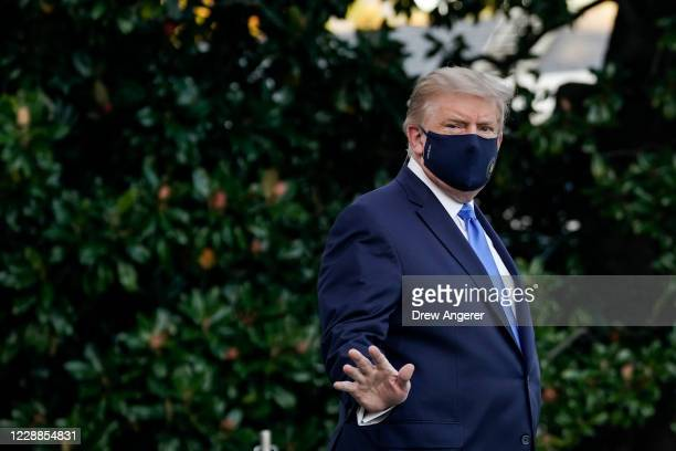 President Donald Trump leaves the White House for Walter Reed National Military Medical Center on the South Lawn of the White House on October 2,...
