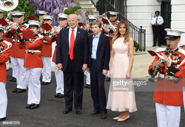US President Donald Trump left and First Lady Melania Trump attend the annual Easter Egg Roll on the South Lawn of the White House in Washington DC...