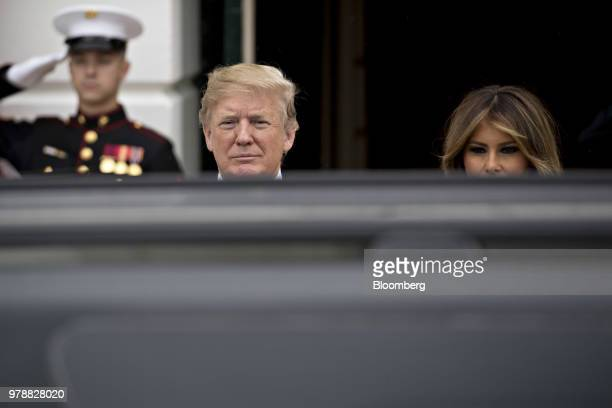 US President Donald Trump left and First Lady Melania Trump wait to greet Felipe VI Spain's king and Queen Letizia not pictured at the South Portico...