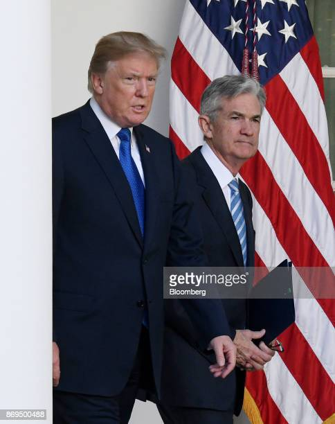 US President Donald Trump left and Jerome Powell governor of the US Federal Reserve and Trump's nominee as chairman of the Federal Reserve walk out...