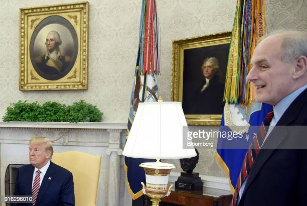 US President Donald Trump left and John Kelly White House chief of staff attend a meeting in the Oval Office of the White House in Washington DC US...