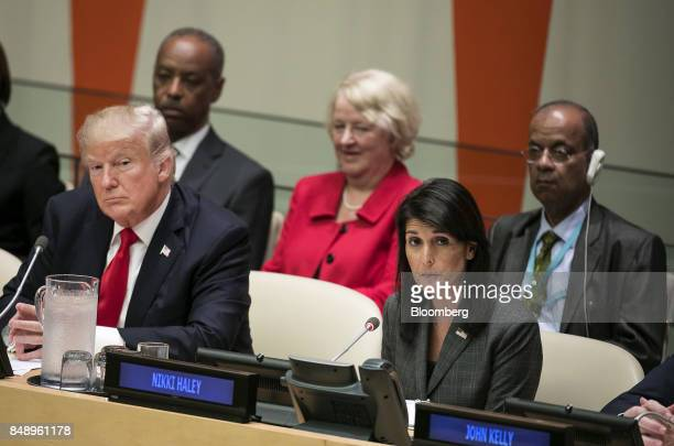 US President Donald Trump left and Nikki Haley US ambassador to the United Nations listen during a panel discussion at the UN General Assembly...