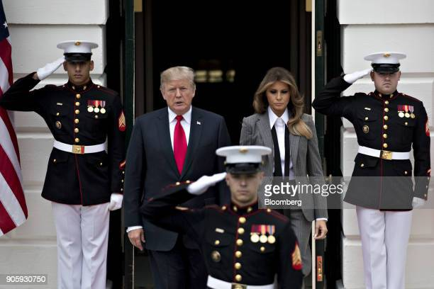 S President Donald Trump left and US First Lady Melania Trump walk out of the South Portico of the White House to greet Canadian Prime Minister...