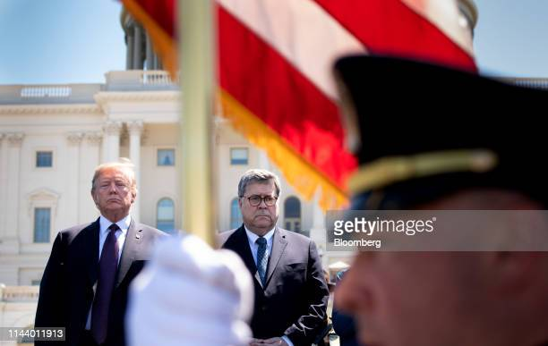 US President Donald Trump left and William Barr US attorney general attend the 38th annual National Peace Officers Memorial Day service at the US...