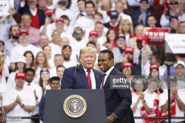 US President Donald Trump left appears alongside Daniel Cameron Republican candidate for Kentucky attorney general during a rally in Lexington...