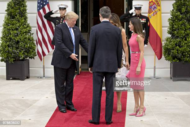 US President Donald Trump left arranges Felipe VI Spain's king center and Queen Letizia right for a photograph with First Lady Melania Trump at the...
