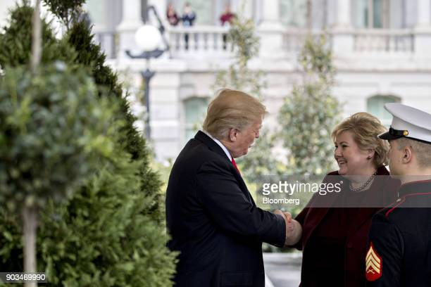 US President Donald Trump left greets Erna Solberg Norway's prime minister at the West Wing of the White House in Washington DC US on Wednesday Jan...