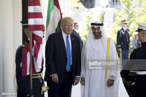 US President Donald Trump left greets Mohammed Bin Zayed Al Nahyan crown prince of Abu Dhabi at the West Wing of the White House in Washington DC US...