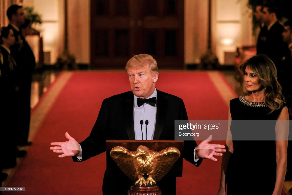 President Trump And First Lady Melania Trump Attend Governors' Ball : News Photo