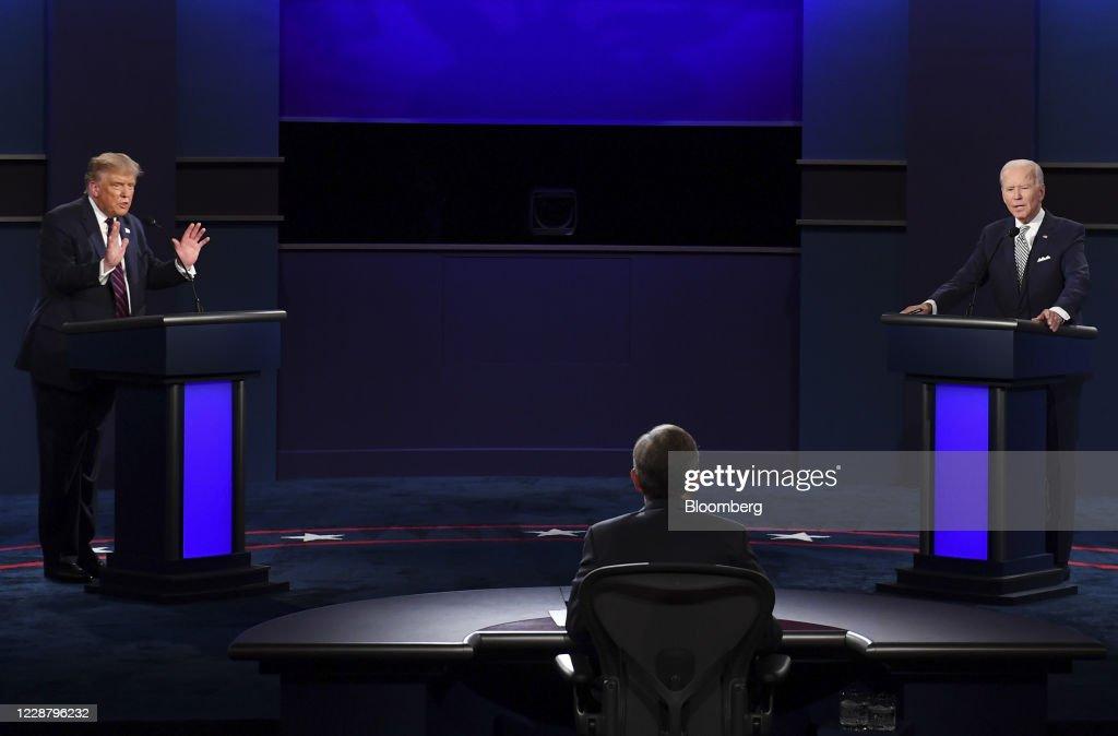 First Presidential Debate Between Donald Trump And Democratic Candidate Joe Biden : News Photo