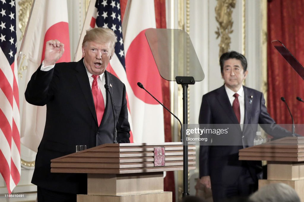 U.S. President Donald Trump and Japanese Prime Minister Shizo Abe Joint News Conference : ニュース写真