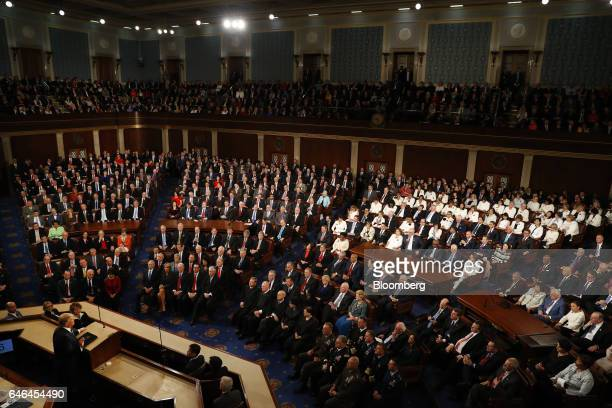 US President Donald Trump left speaks during a joint session of Congress in Washington DC US on Tuesday Feb 28 2017 Trump will press Congress to...