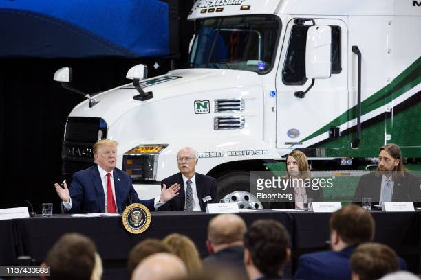 US President Donald Trump left speaks during a roundtable discussion on the economy and tax reform in Burnsville Minnesota US on Monday April 15 2019...
