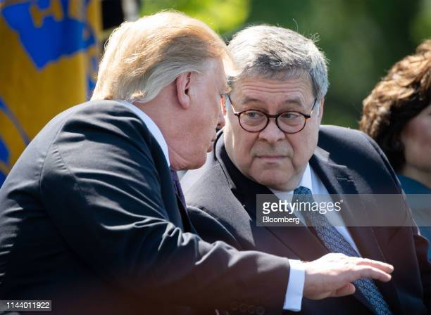 US President Donald Trump left speaks to William Barr US attorney general during the 38th annual National Peace Officers Memorial Day service at the...