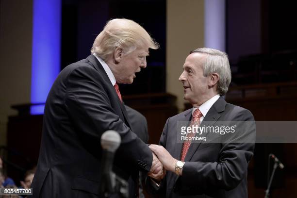 US President Donald Trump left speaks with pastor Robert Jeffress during the Celebrate Freedom event at the John F Kennedy Center for the Performing...