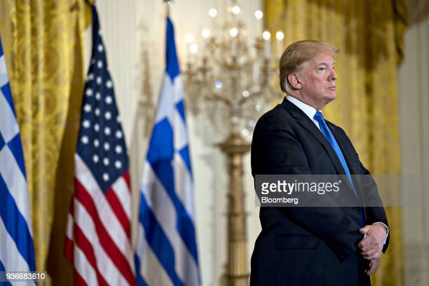 US President Donald Trump listens as Archbishop Demetrios of America elder archbishop of the Greek Orthodox Archdiocese of America not pictured...