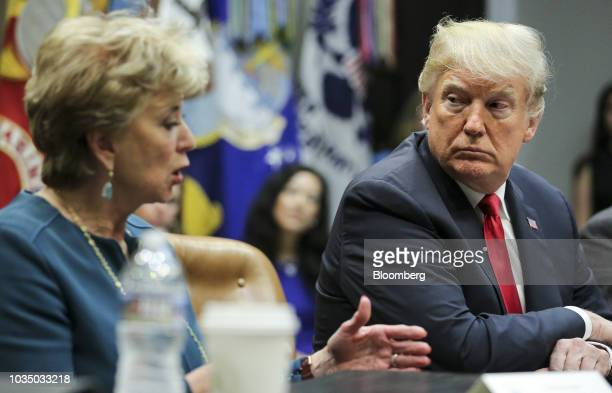 President Donald Trump listens as Linda McMahon, administrator of the Small Business Administration , left, speaks during a meeting of the...