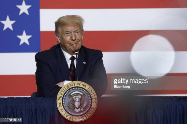 President Donald Trump listens during a roundtable discussion at the American Red Cross National Headquarters in Washington, D.C., U.S., on Thursday,...