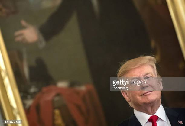US President Donald Trump listens during an event with wounded warriors at the White House in Washington DC US on Thursday April 18 2019 Trumpsaid...