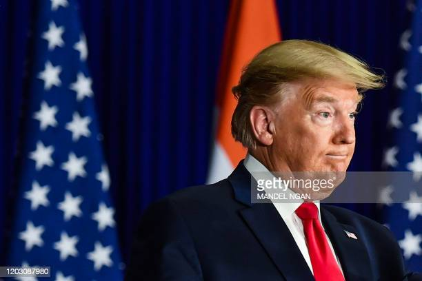 US President Donald Trump listens to a question during a press conference in New Delhi on February 25 2020