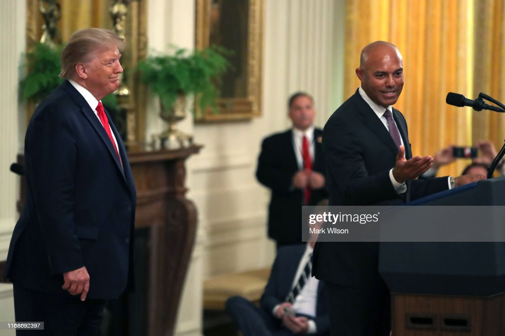 President Trump Presents The Presidential Medal Of Freedom To Hall Of Fame Baseball Player Mariano Rivera : News Photo
