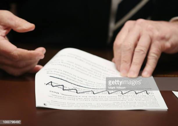 S President Donald Trump looks at his notes as he talks about his meeting with Russian President Vladimir Putin during a meeting with House...