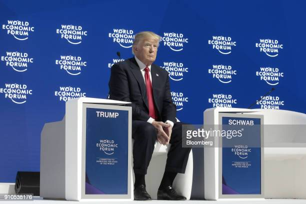 US President Donald Trump looks on ahead of a special address on the closing day of the World Economic Forum in Davos Switzerland on Friday Jan 26...