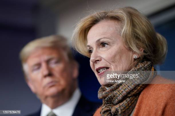 US President Donald Trump looks on as White House Coronavirus Response Coordinator Dr Deborah Birx speaks about the coronavirus outbreak in the press...