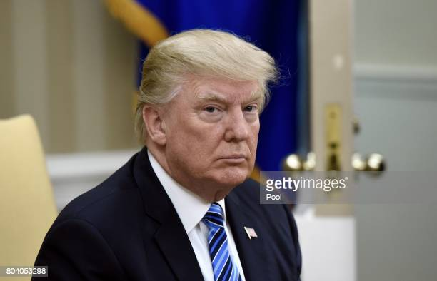 US President Donald Trump looks on during a meeting with South Korean President Moon Jaein in the Oval Office of the White House on June 30 2017 in...